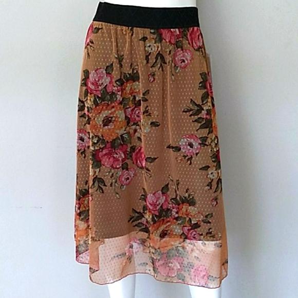 LuLa Roe Orange Floral Midi Skirt. NWT